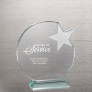 Etched Jade Star Trophy - Round